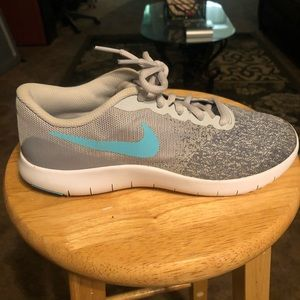 Nike Flex Contact Youth 6Y Grey and Turquoise